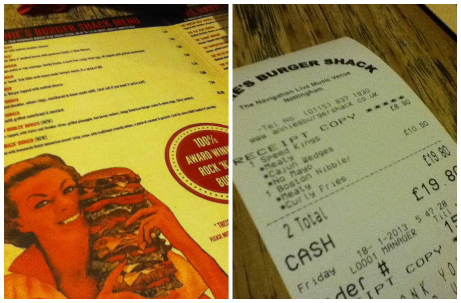 menu and receipt