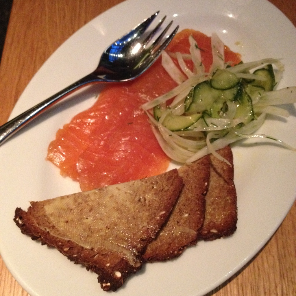 Tramshed Review De Beauvoir smoked salmon ' Hix cure'