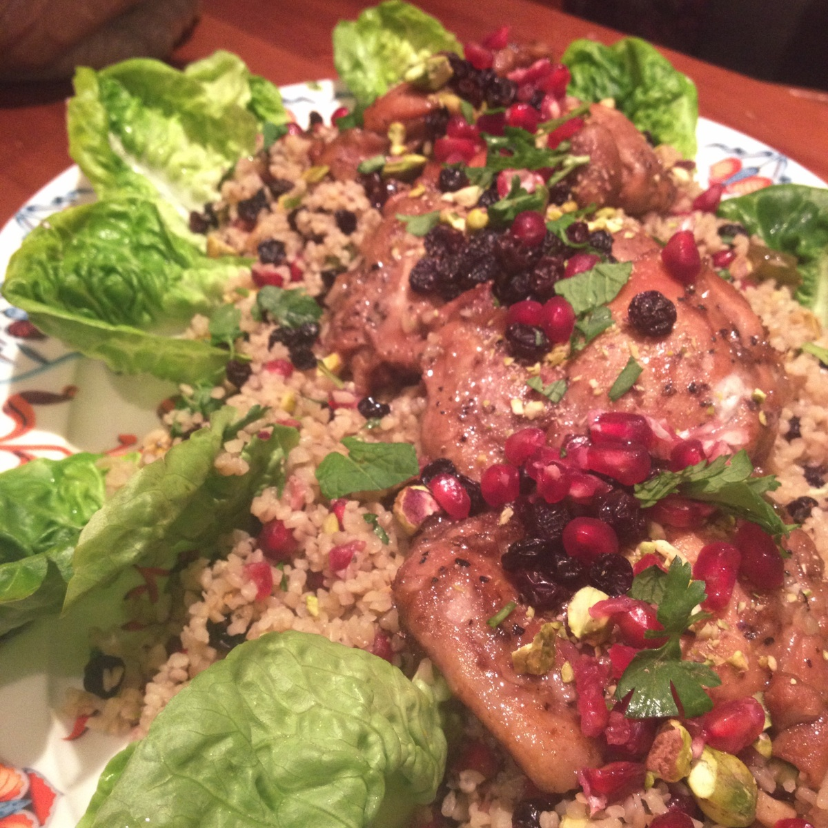 pomegranate molasses chicken with bulgar wheat salad emmarosetully