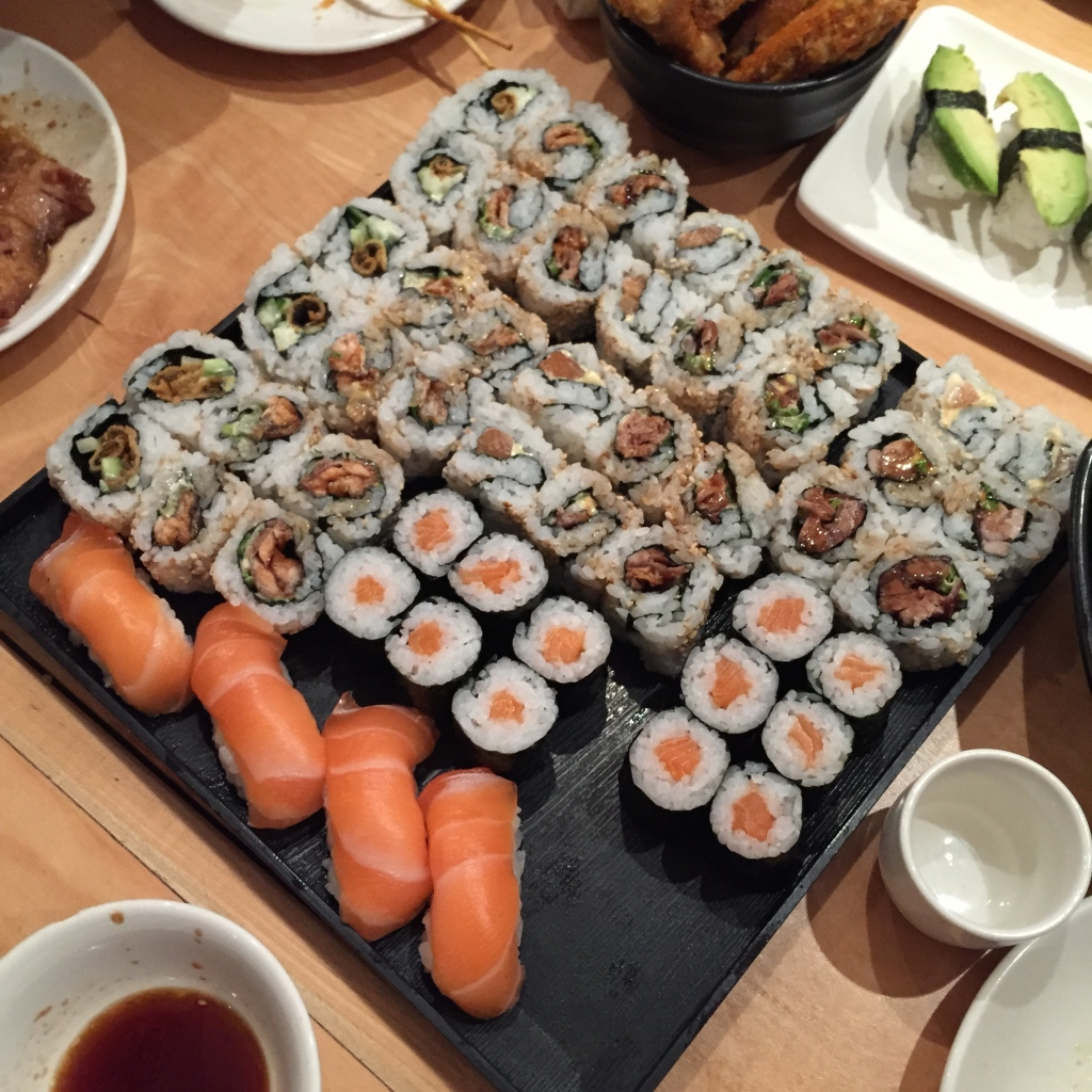 salmon nigiri salmon skin rolls sushi cafe