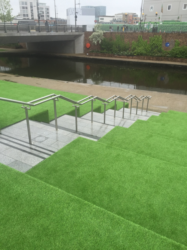 granary square green carpeted steps