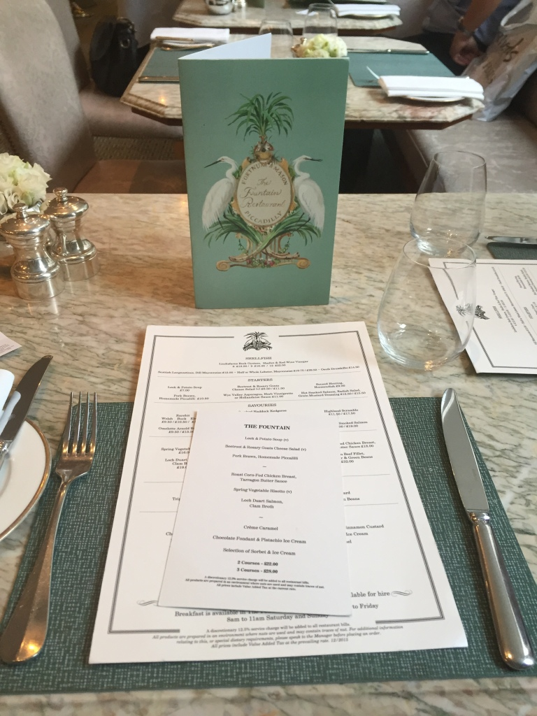 The Fountain - Fortnum & Mason Menu