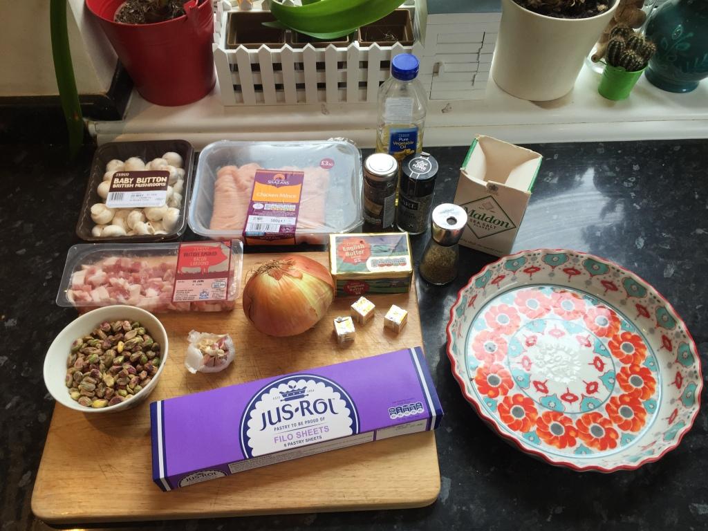 Chicken bacon pistachio pie ingredients