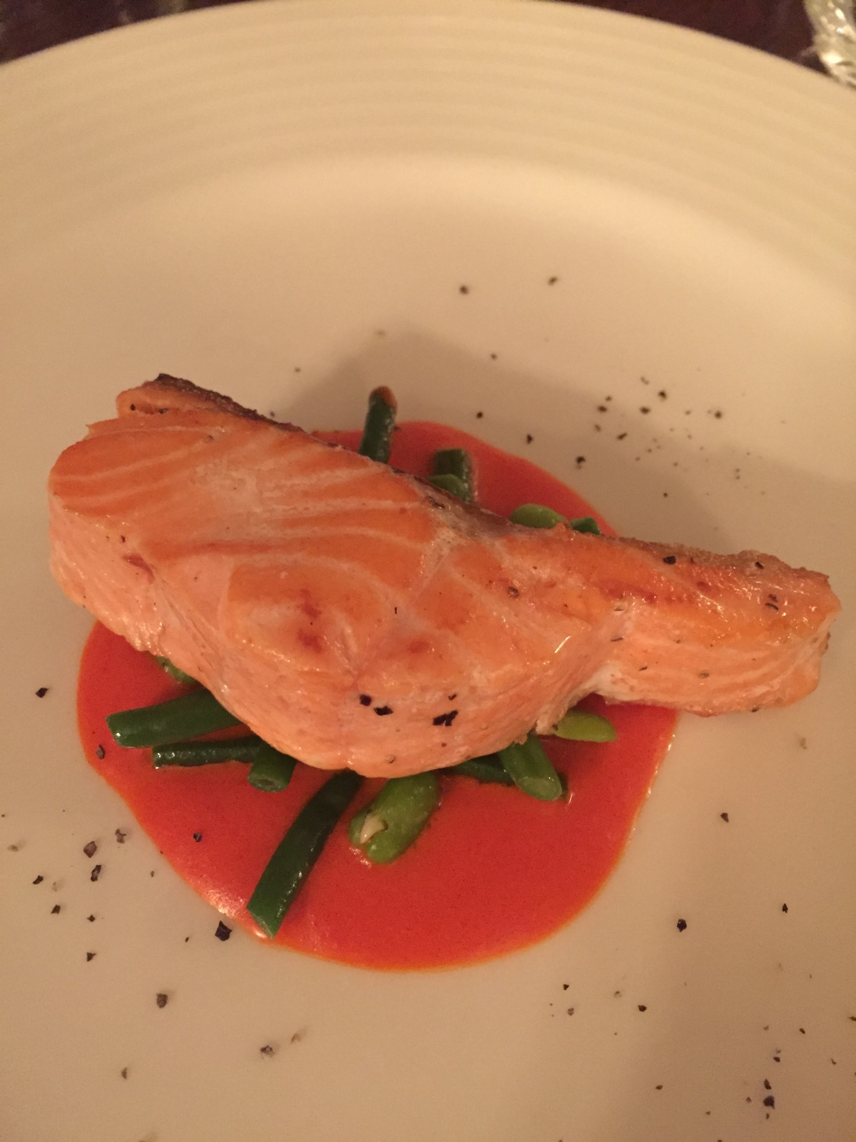 Sea Trout with red pepper sauce