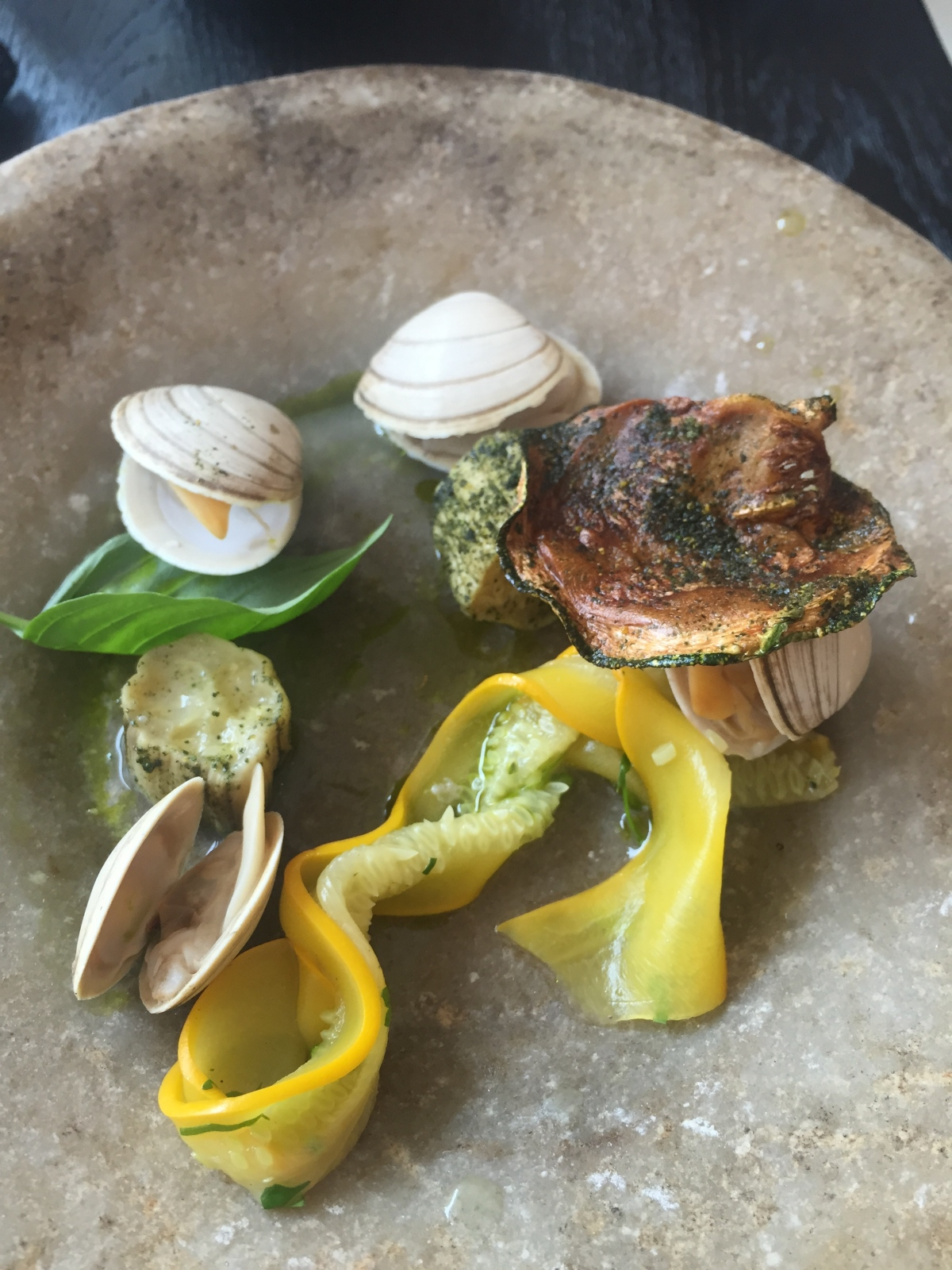 Clams, courgettes & herb oil