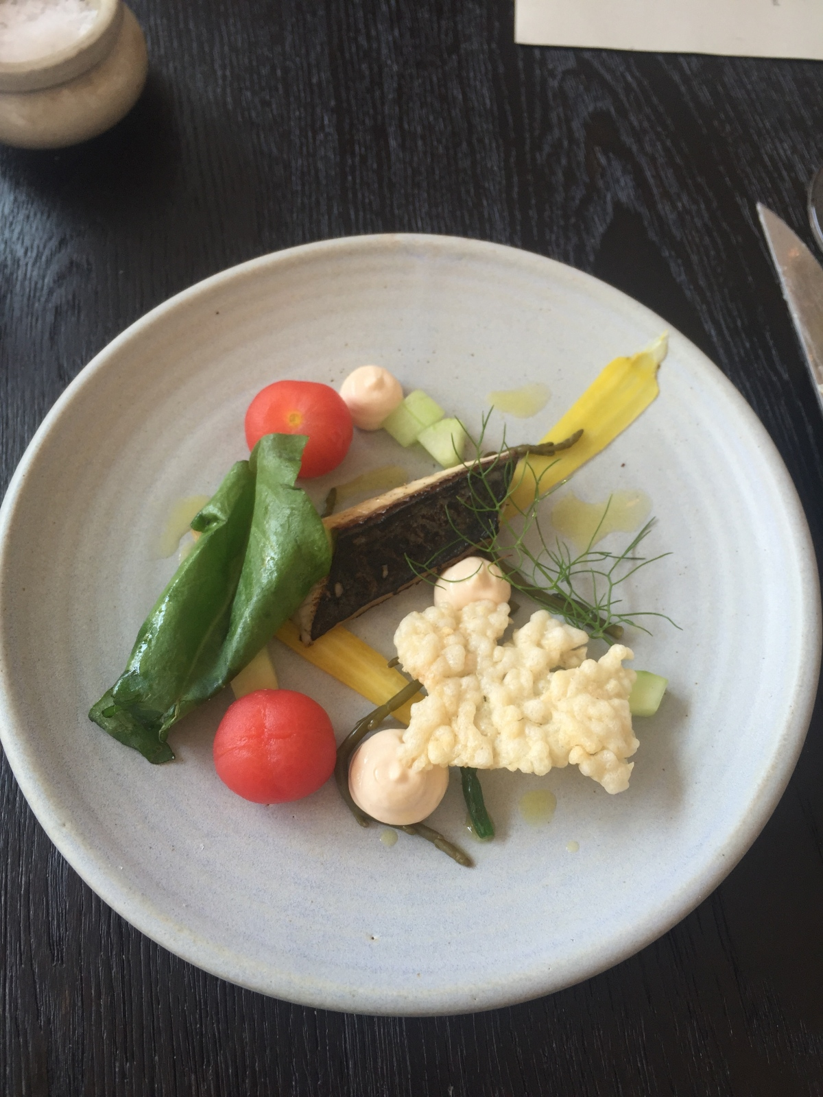 Willy's charred mackerel, smoked cod roe, pickles & rice cracker