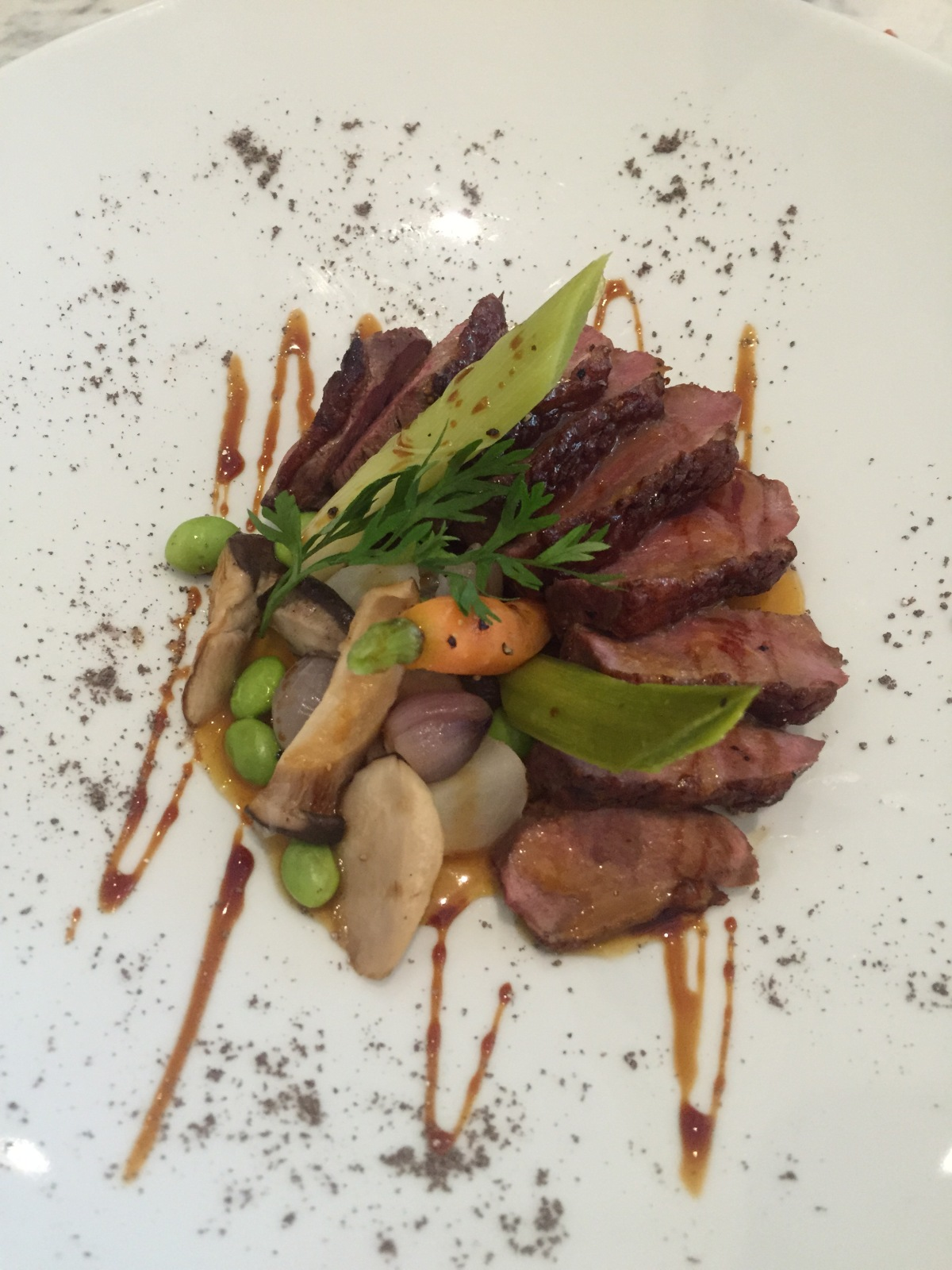 Panfried Smoked Organic Duck Breast, Orange Miso