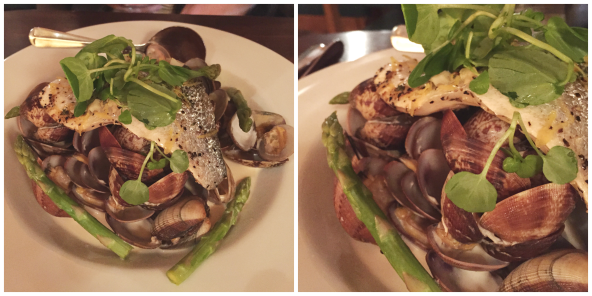 baked sea bream with clams in white wine butter and pickled asparagus