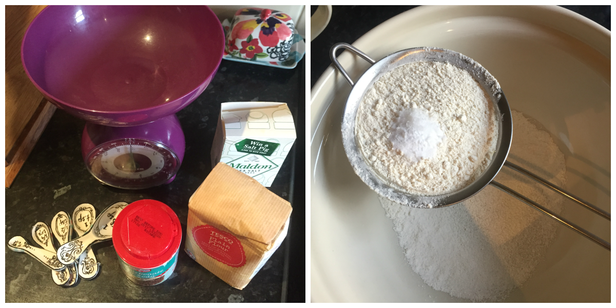 Sift the flour, bicarbonate of soda and salt into a large mixing bowl.