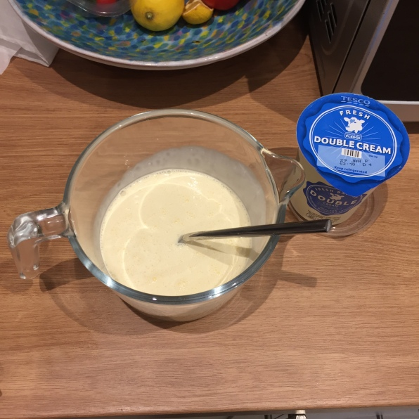 Beat the eggs in a large bowl gradually add the cream