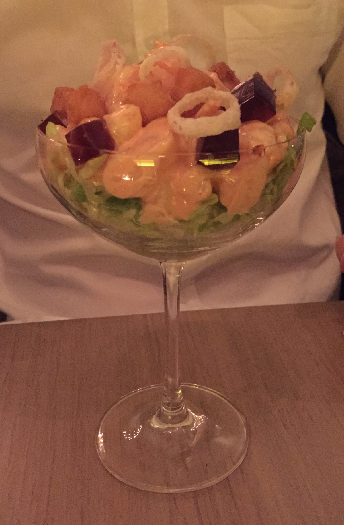 Prawn cocktail, lobster jelly, avocado, crisps shallotPrawn cocktail, lobster jelly, avocado, crisps shallot