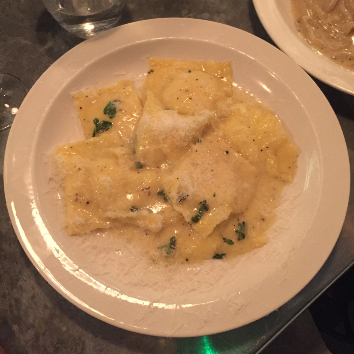 Ravioli of Neal's Yard goats curd with marjoram butter